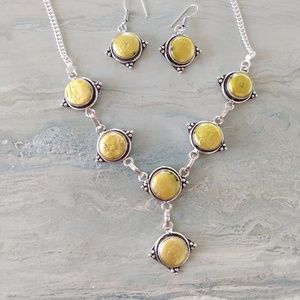 Biwa pearl stamped 925 necklace earrings set